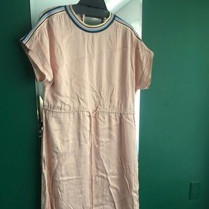 Zara large size pink silk dress